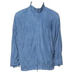 Loro Piana Slate Blue Suede Bomber Jacket 3XL