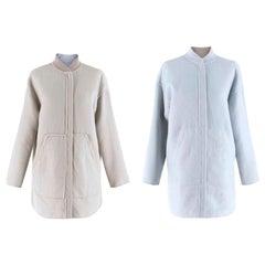 Loro Piana Stone/Light Blue Reversible Cashmere Jacket - Size US 6