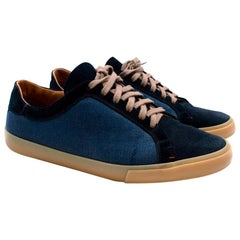 Loro Piana Suede & Canvas Navy Trainers - Size EU 42