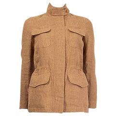 LORO PIANA tan brown linen SAFARI Jacket 36 XXS