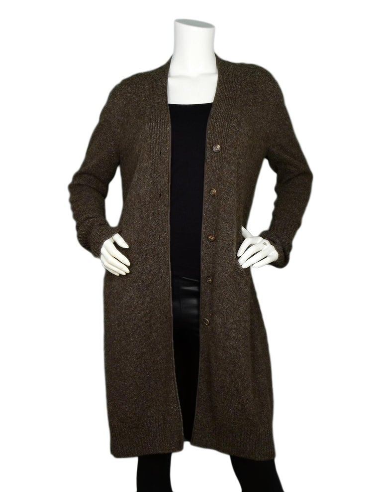 Loro Piana Taupe Extra Long Cashmere Cardigan IT44  Made In:   Italy Color: Taupe Materials: 100% cashmere Opening/Closure: Button front Overall Condition: Excellent pre-owned condition with excpetion of minor pilling in fabric  Measurements: