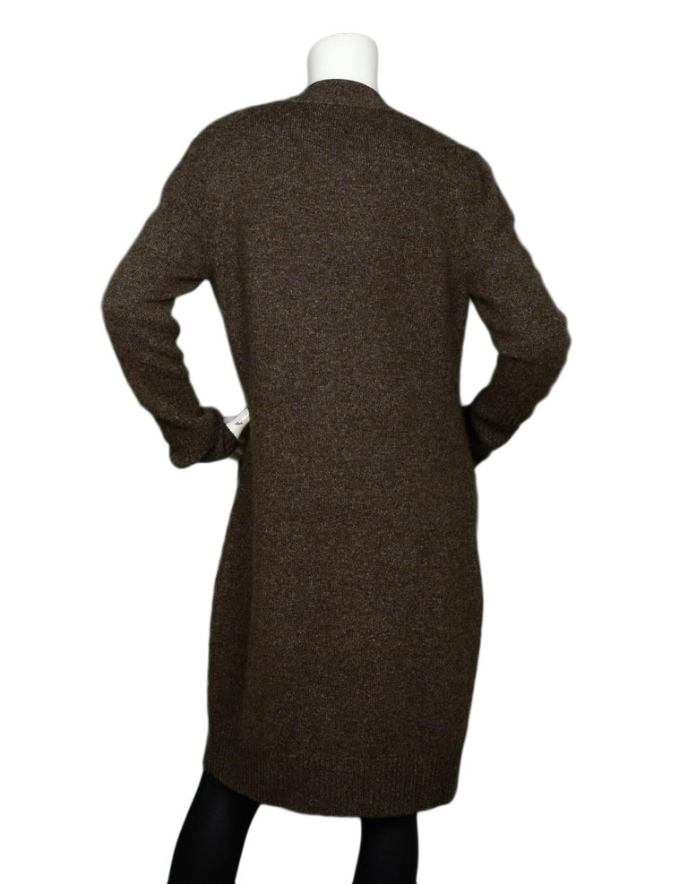 Black Loro Piana Taupe Extra Long Cashmere Cardigan IT44 For Sale