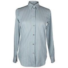 Loro Piana Top Shirt Striped Cotton Semi Sheer Insets 40 / 6