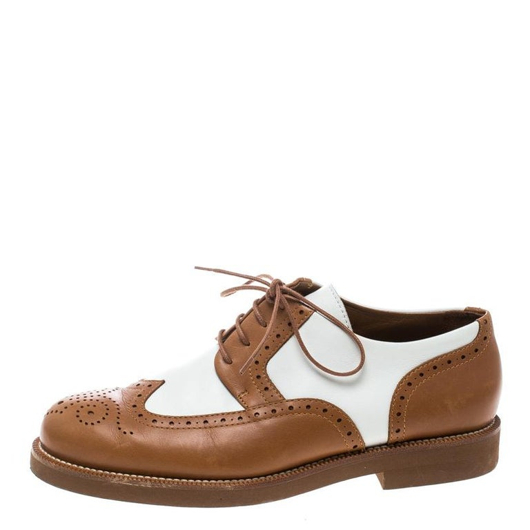 Brown Loro Piana Two Tone Leather Round Toe Wingtip Brogue Oxfords Size 37.5 For Sale