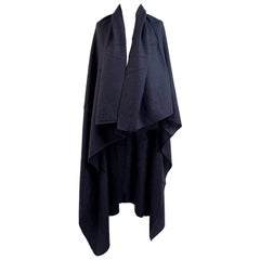 Loro Piana Vintage Black Wool Shawl Large Scarf