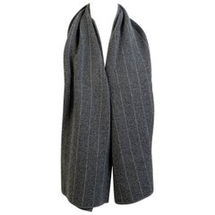 Loro Piana Vintage Gray Striped Cashmere Scarf