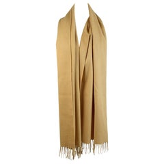 Loro Piana Vintage Yellow Cashmere Large Fringed Scarf