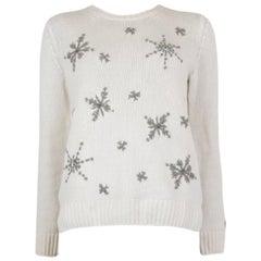 LORO PIANA white cashmere SNOWFLAKE EMBELLISHED Sweater 40 S