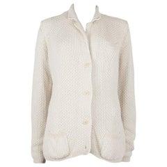 LORO PIANA white cotton Notch Collar Cardigan Sweater 48 XXL