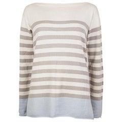 LORO PIANA white & grey cashmere STRIPED BOATNECK Sweater 42 M