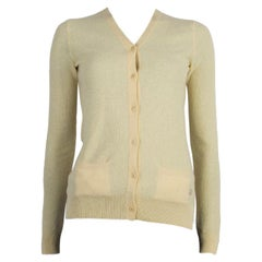 LORO PIANA yellow cashmere V-Neck Cardigan Sweater 38 XS