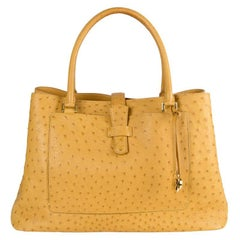 LORO PIANA yellow OSTRICH BELLEVUE Bag