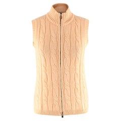 Loro Piana Yellow Silk & Cashmere Knit Zipped Vest - Size US 6