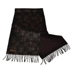 Loro Piano/ Bergdorf Goodman 2-Ply Coco Brown & Majestic Print Cashmere Scarf