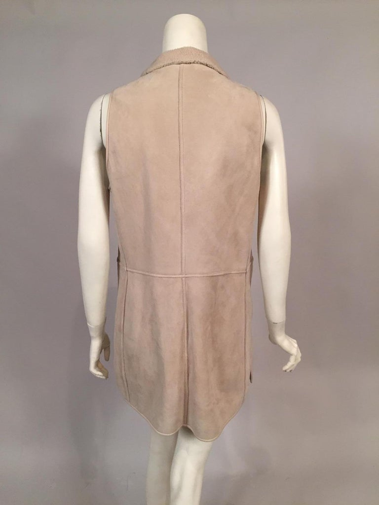 Women's Loro Piana Light Weight Beige Shearling Vest Jacket Larger Size For Sale