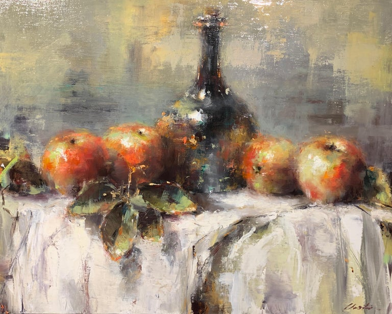 'The Scent of Apples' is a small size framed Impressionist floral still life oil on canvas painting of horizontal format created by Irish artist Lorraine Christie in 2019. Featuring a palette made of red, green and blue tones accented with touches