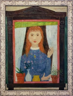 Redhead Girl in Window with Flower Pots,