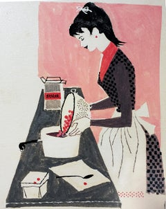 Woman Baking, Redbook Illustration