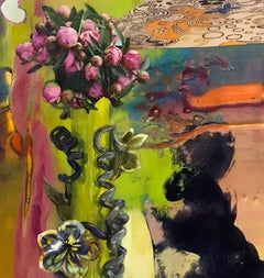 Discreet, Disorienting Passions, Small Abstract Green Pink Painting with Flowers