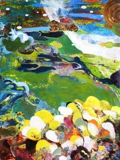Meadow of the Low Sage, Abstract Green Blue Yellow Encaustic Painting with Bird