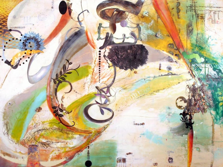 The Sentient Magnolia And The Great Salt Lake Four, Encaustic Abstract Painting