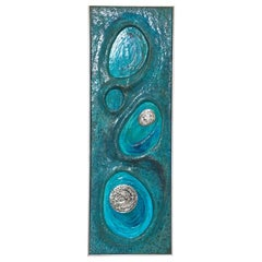 Lorraine Stelzer 1969 Turquoise Acrylic Resin Art Wall Sculpture Panel