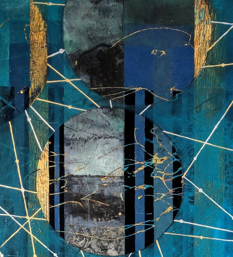 Beneath the Surface, blue and gold abstract landscape mixed media painting - Contemporary Mixed Media Art by Lorraine Thorne