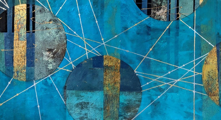 Beneath the surface by Lorraine Thorne. A blue, silver/grey and gold abstract landscape mixed media painting using graphite, acrylic, variegated metal leaf, silver and gold leaf and varnish on a wood panel with deep sides. Unframed but ready to