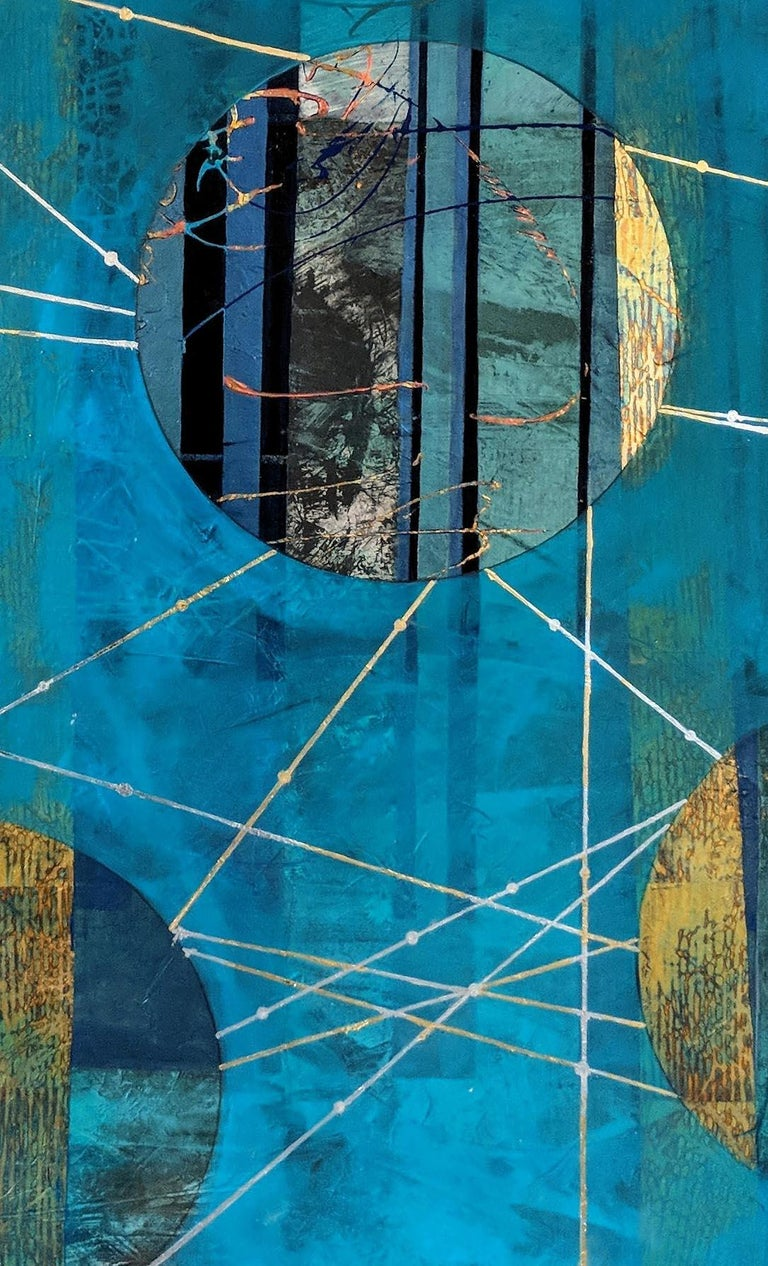 Beneath the Surface, blue and gold abstract landscape mixed media painting For Sale 1