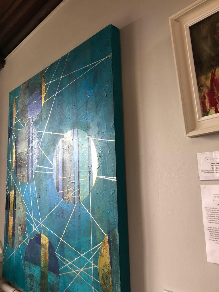 Beneath The Surface Blue And Gold Abstract Landscape Mixed Media Painting