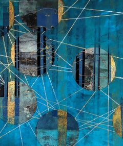 Beneath the Surface, blue and gold abstract landscape mixed media painting