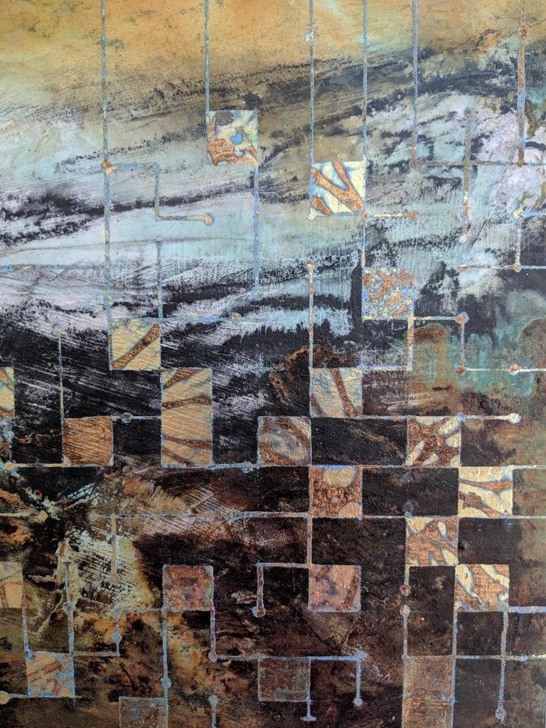 Grids of communication, a mixed media painting, abstract art, landscape painting - Painting by Lorraine Thorne