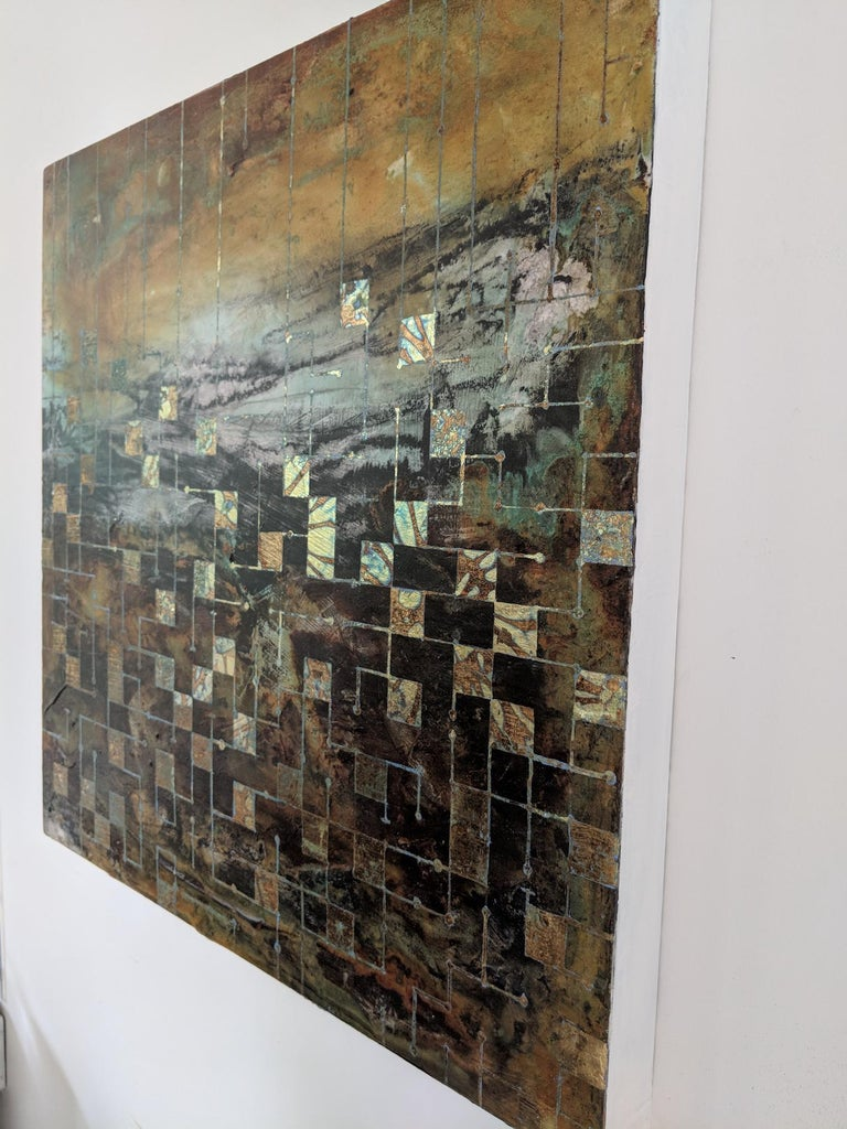 Grids of communication, a mixed media painting, abstract art, landscape painting - Contemporary Painting by Lorraine Thorne