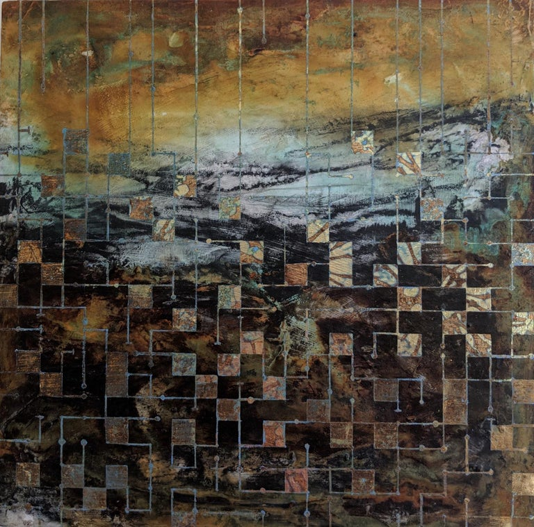 Lorraine Thorne Abstract Painting - Grids of communication, a mixed media painting, abstract art, landscape painting