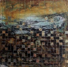 Grids of communication, a mixed media painting, abstract art, landscape painting