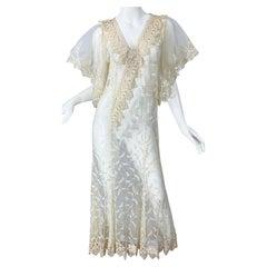 Lorrie Kabala 1980s Ivory Lace Sheer Size 8 Vintage 80s Caftan Maxi Dress