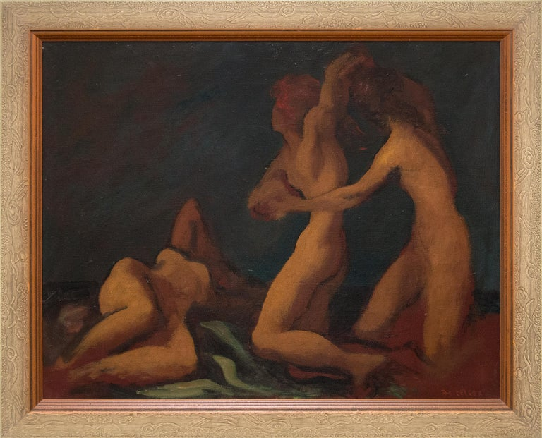 Beach (Sketch of Nudes) - Painting by Lorser Feitelson