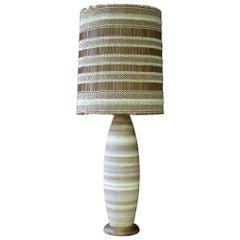 Los Angeles Cabinmodern Maria Kipp Chenille Shade Stoneware Walnut Table Lamp
