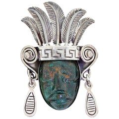 Los Ballesteros 925 Sterling Silver Taxco Mexico Mayan Face Figural Brooch Pin