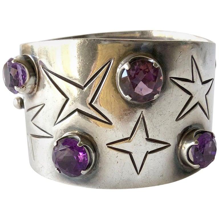 Los Ballesteros Sterling Silver Amethyst Mexican Modernist Star Cuff Bracelet For Sale