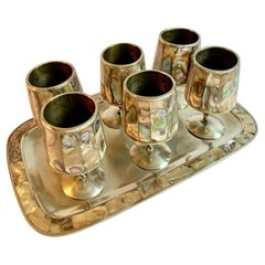 7 Piece Mexican Silver Abalone Cordial Set