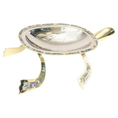 Los Castillo Abalone, Brass & Silver Plate Centerpiece & or Serving Bowl Vintage