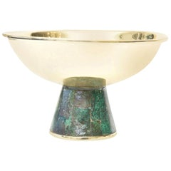 Los Castillo Brass and Sodalite Tazza Bowl Mid-Century Modern