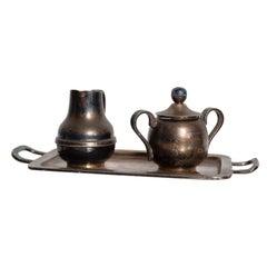Los Castillo Coffee Tea Serving Set Silverplate and Malachite Azurite Stone