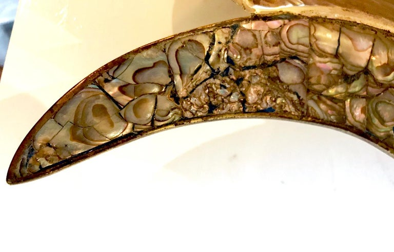 Mid-Century Modern Los Castillo Mixed Metal and Abalone Fish Platter, Mid-20th Century For Sale
