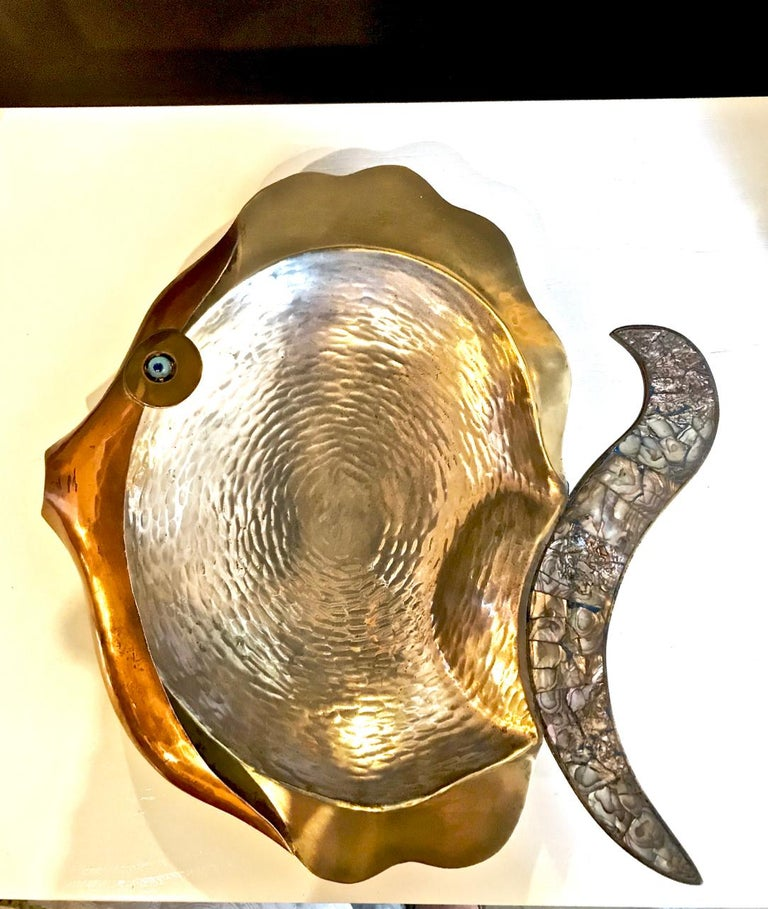 Silver Plate Los Castillo Mixed Metal and Abalone Fish Platter, Mid-20th Century For Sale