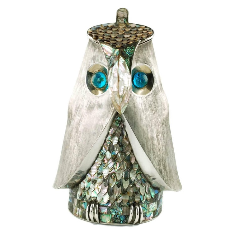 Los Castillo Silver Plate Figural Owl Pitcher with Abalone Inlay and Glass Eyes For Sale 6