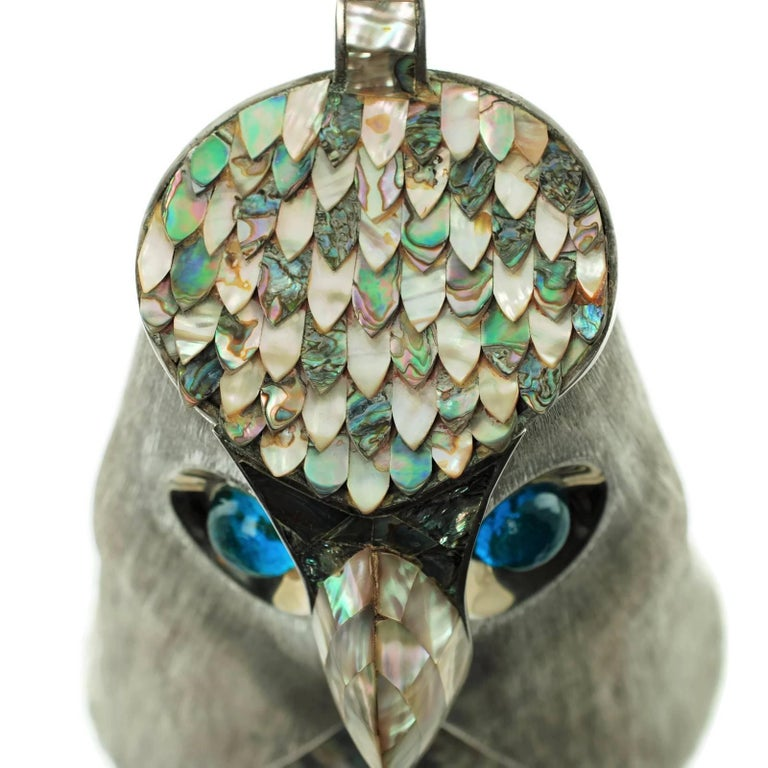 Los Castillo Silver Plate Figural Owl Pitcher with Abalone Inlay and Glass Eyes For Sale 7