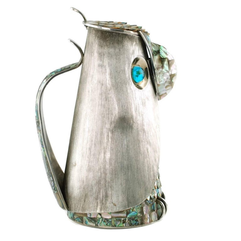 Mexican Los Castillo Silver Plate Figural Owl Pitcher with Abalone Inlay and Glass Eyes For Sale