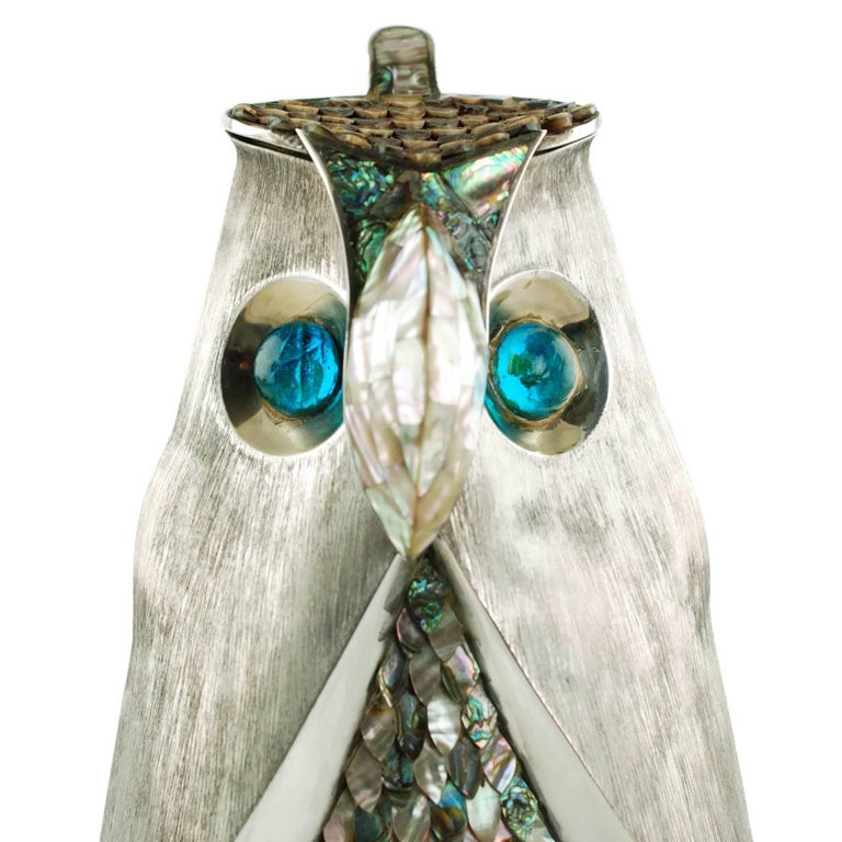 Brushed Los Castillo Silver Plate Figural Owl Pitcher with Abalone Inlay and Glass Eyes For Sale